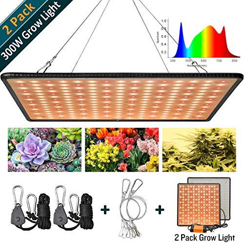 GREENSINDOOR 3500K LED Pflanzenlampe, 1000W LED Grow Light Vollspektrum LED Pflanzenlicht  für Zimmerpflanzen Gemüse und Blumen (2 Stück Warmweiß)