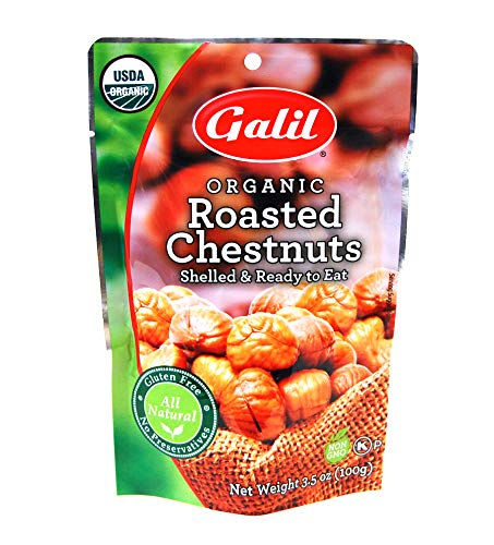 Galil Organic Roasted Chestnuts   Shelled   Ready to Eat Snack   Gluten Free, All Natural, 100% Vegan, No Preservatives   Great for Snacking, Baking, Cooking & Turkey Stuffing   3.5oz Bags (Pack of 3)