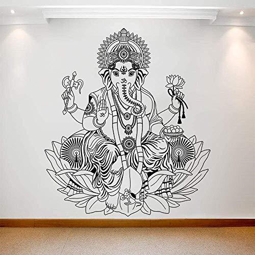 Pegatinas De Pared Vinilo Tatuajes De Pared Arte Extraíble Ganesh Elefante Arte Mural Para Dormitorio Sala De Estar Extraíble Cartel De Pared 57X64Cm