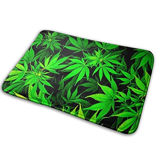 BLSYP Felpudo Weed Leaf Print Welcome Door Mat Rug for Kitchen Carpet Bathroom Outdoor Porch Laundry Living Room Mat 24 x 16 Inch