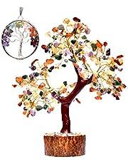 KACHVI Cristales Piedras curativas Siete Chakras Piedras Preciosas curativas Naturales Bonsai Fortune Money Tree SpiritualGift (300 Cuentas) de 10-12 Pulgadas