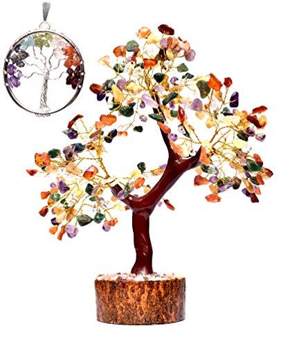 KACHVI Cristaux et Pierres précieuses guérison bonsaï Arbre Feng Shui Arbres de Cristal bonsaï Arbres (Cadeau Arbre de Vie) décor à la Maison Fil d'or Taille 10-12 Pouces