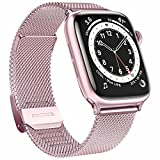 GBPOOT Bands Compatible with Apple Watch Bands 38mm 40mm 42mm 44mm,Magnetic Stainless Steel Milanese Bands for iwatch Series 6/5/4/3/2/1/SE Men Women(Rose Gold,42/44mm)
