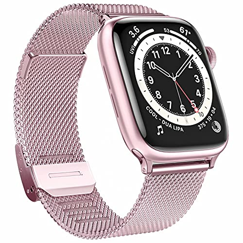 GBPOOT Bands Compatible with Apple Watch Bands 38mm 40mm 42mm 44mm,Clasp Stainless Steel Milanese Bands for iwatch Series 6/5/4/3/2/1/SE Men Women(Rose Gold,38/40mm)