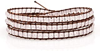 CLY Jewelry Leather Wrap Handmade Wristband Cuff Multilayer Rope Braided Bead Bracelet
