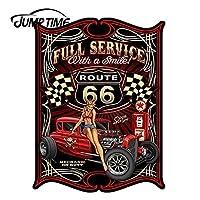 JumpTime 13cm x 9.8cmホットガールテキサコスマイルルート付きフルサービス66 Hot Rod Pinup Girl 3Dステッカーカー粘着保護フィルム
