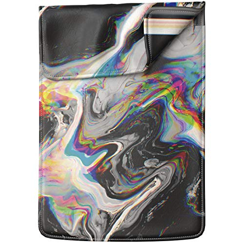 Lex Altern Laptop Sleeve Case for MacBook Air 13 Mac Pro 16 15 Retina HP Dell ASUS Acer Lenovo 11 12 14 17 inch 2020 Abstract Glitch Art Black Rainbow Holographic Paint Trippy Leather Cover Carrying