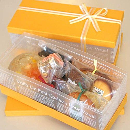 「ハーバル・クリアBOX・オレンジ」カーネーションのプリザーブドフラワーのハーバリウムとハーブティ(ハイビスカス・ローズヒップ・紅茶)と焼き菓子4個のギフト【花とスイーツギフト】母の日に