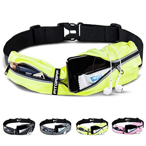 Fitgriff® Laufgürtel für Handy - Sportgürtel, Fitnessgürtel, Lauftasche, Running Belt, Hüfttasche für Jogging, Laufen, Sport, Fitness (Neon Yellow, One Size)