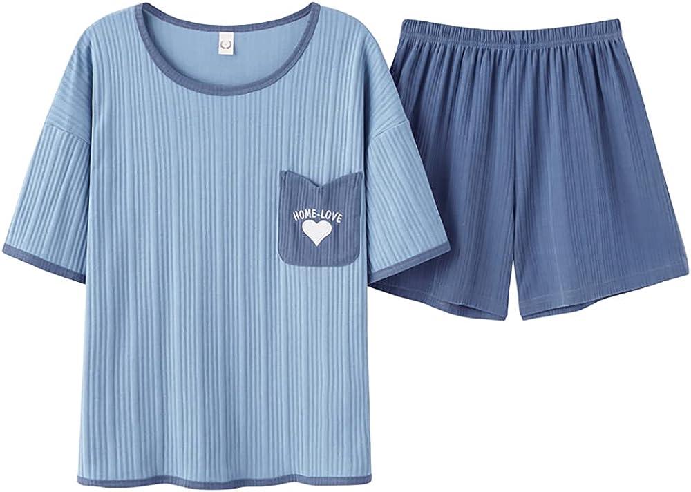 KINYBABY Girls Casual Pajama Sets Sleepwear Cute Heart Pattern Nightwear Short Sleeve Top with Short Bottoms (Y4584,16-20 Years/Tag XXXL)