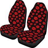 UNICEU Sexy Red Lip Kiss Black Universal 2pc Car Seat Covers for Front Bucket Auto Seats Fit Most Suvs,Sedans,Trucks,Auto Interior Accessories for Women