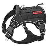 Tactical Dog Harness Large,Military Service Weighted Dog Vest Harness Working Dog MOLLE Vest with Loop Panels,No-Pull Training Harness with Leash Clips for Walking Hiking Hunting(Black,L)