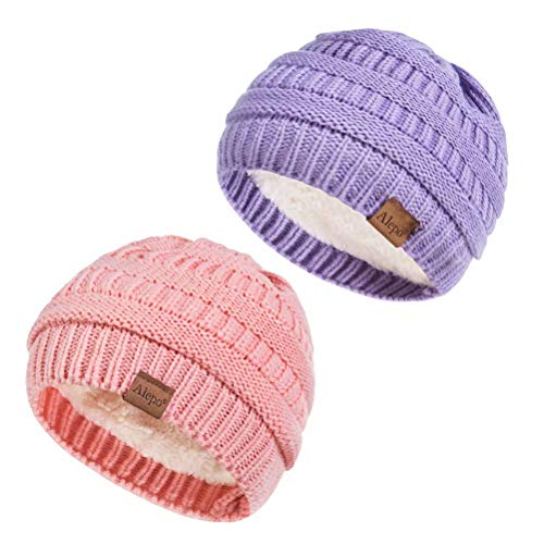 Alepo Fleece Lined Baby Beanie Hat, Infant Newborn Toddler Kids Winter Warm Knit Cap for Boys Girls (Pink&Purple)