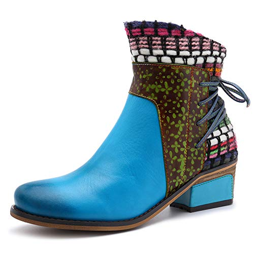 Damen Stiefeletten Winter-Lederstiefel Damen Bequemer Low Blockabsatz Warmer Schnee Booties Weinlese-Böhmische Handgemachte Stiefel,Blau,38