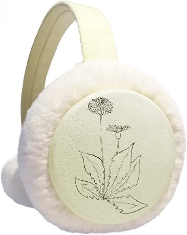 Dandelion Flower Max 46% OFF Plant Leaves Winter Cheap super special price Cable Ear Warmer Knit Furry