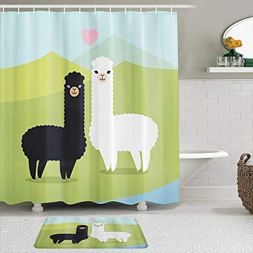 Set tenda per doccia 2 pezzi con tappetino da bagno antiscivolo,Alpaca innamorati in montagna Argentina Fauna LIama Animali con colori contrastanti,12 ganci,Decorazioni per il bagno personalizzate