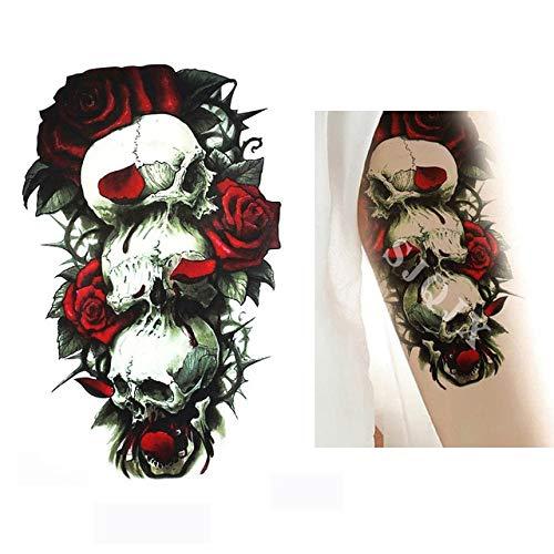 XiaoOu Tatuaje Temporal de Halloween Pegatinas Demon cráneoescuadrón Suicida Tatuaje Joker Negro Impermeable Falso Tatuaje 210 * 148 mm, E