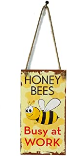 MAIYUAN Honey Bees Busy at Work Wooden Plaque Signs for Home Wall Decor Hanging Pendant Sign for Garden Plank Decoration