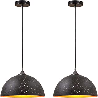 Vintage Metal Pendant Lights 2 Pack - KingSo Industrial Hanging Light Fixture 11.81in- Adjustable Ceiling Kitchen Lights - Classic Black Lampshades for Kitchen Island Dining Living Room Bedroom