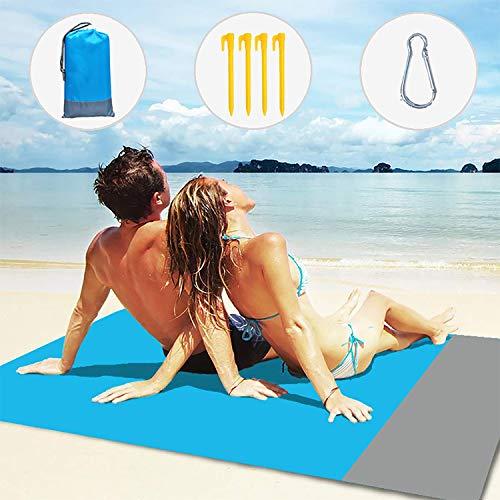 Layack Alfombras de Playa 210x200CM, Manta de Picnic Impermeable Portátil y Ligero Alfombra para Picnic para Jardín Parque Piscina Acampada Viaje al Aire Libre, Azul