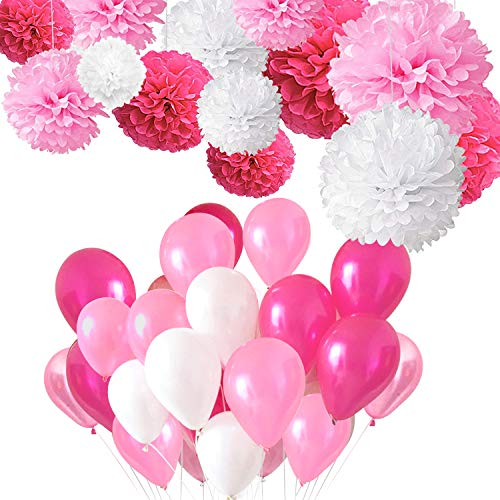 Auped Luftballon und Pompon Hochzeit Deko - 60 Ballons (Perlmutt + Hellrosa + Dunkelrosa) + 12er Seidenpapier Seidenpompons (in 4 Größe) für Hochzeitsdeko Geburtstagsdeko Mädchen Party