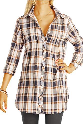 bestyledberlin Damen Bluse, Karierte Damen Langarm Hemden - Longblusen aus Baumwolle t49z M braun