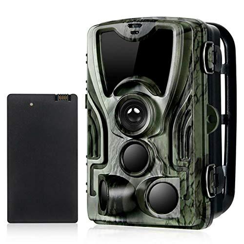 YTLJJ Caméra de Chasse Infrarouge Invisible 16MP 1080P avec Batterie au Lithium 5000Mah, Trail Caméra Sécurité No Glow Vision Nocturne Infrarouge activé, 0.3s Vitesse de Déclenchement, IP65 Étanche