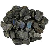 SUNYIK Natural Raw Stones Rough Rock Crystals for Tumbling,Cabbing,Labradorite,1pound(About 460 Gram)
