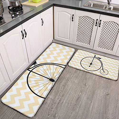 Set di 2 tappeti da cucina e tappetini, elegante e antiquariato per bicicletta, antiscivolo, morbido tappetino per cucina, ingresso, corridoio e sala da pranzo, lavanderia