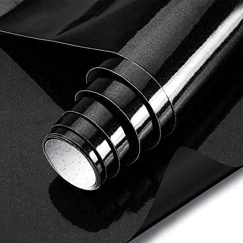 KINLO schwarz glanz Möbelfolie 5x0.6M 3pcs (9㎡) PVC Klebefolie Küchenschrank Aufkleber Selbstklebend Küchenfolie Deko Plotterfolie MIT GLITZER