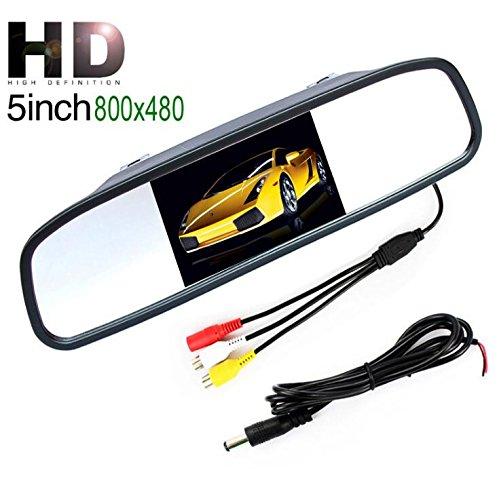 Monitor de Espejo de Coche – 5 Pulgadas HD 800 x 480 resolución Digital TFT LCD Espejo de Coche Aparcamiento, Monitor de visión Trasera con 2 Entrada de vídeo Connect cámara Trasera/Frontal