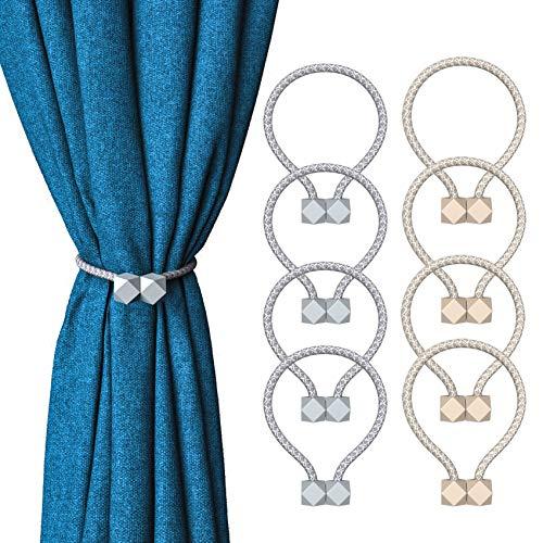 BOIROS 8 Stück Magnetische Vorhang Raffhalter Vorhang Clips Seil Rückwärtige Vorhang Halter Schnallen Vorhang Binder Gardinenhalter für Haus Büro Dekoration
