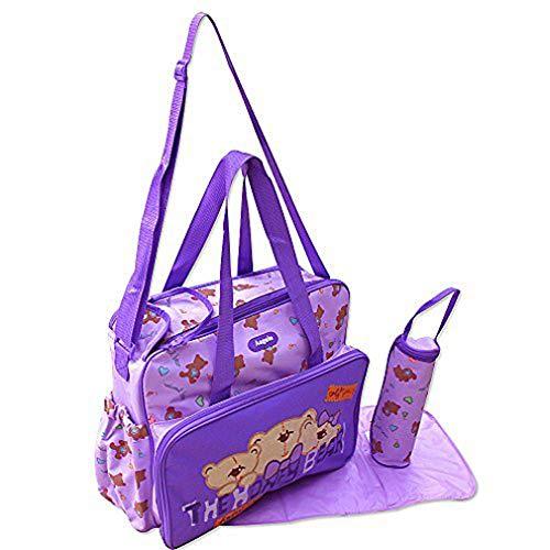 3 tlg Baby Farbe lila Wickeltasche Pflegetasche Windeltasche Babytasche Reise Farbauswahl