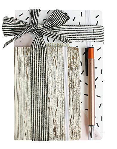 Emartbuy Guay Set de Regalo Único de Papelería Con Cuaderno de Diseño de Mármol A5 diario A6 Bolígrafoen la Cinta - Rosado