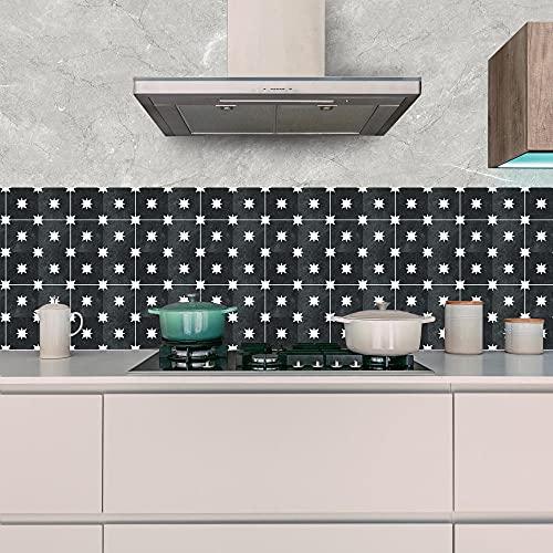 Vinilos Pared Cocina Estrellas Negras Vinilo Adhesivo Cenefas Adhesivas Baño Cocina Azulejos...