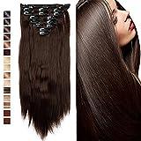 S-noilite - Extension a Clip Cheveux Naturel Clip in Hair Extensions Tête Pleine 8 Bandes 18 Clips 58cm Tout Droit - Brun moyen