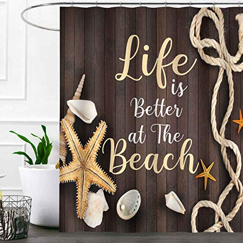 SDDSER Life is Better at The Beach Shower Curtain Sets, Starfish Seashells Rope Nostalgia Wooden Plank Bathroom Curtains, 72x72 inch with 12 Free Hooks, YLLSSD2346