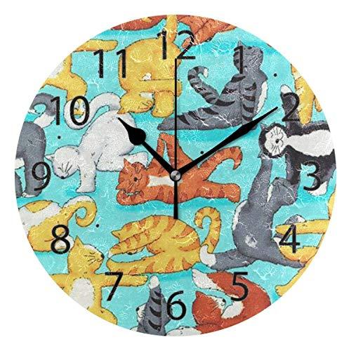 FETEAM Home Office School Reloj de Pared Redondo sin tictac de 9,84 ″ (Kung Fu Cat Yoga)