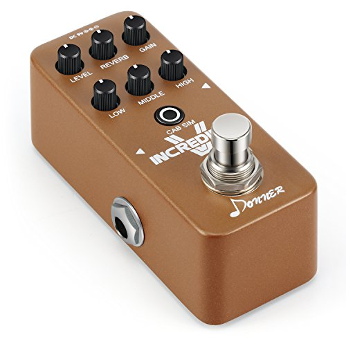Donner Incredible V Mini Preamp Distortion High Gain Guitar Effect Pedal with Reverb and Cab Simulator Functions and Automatically Save