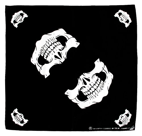 Tuch Totenkopf Schwarz Weiß Kopftuch Bandana Halstuch Biker Sport Nickituch Kopfbedeckung ca. 51 x 51 cm Einseitig Bedruckt
