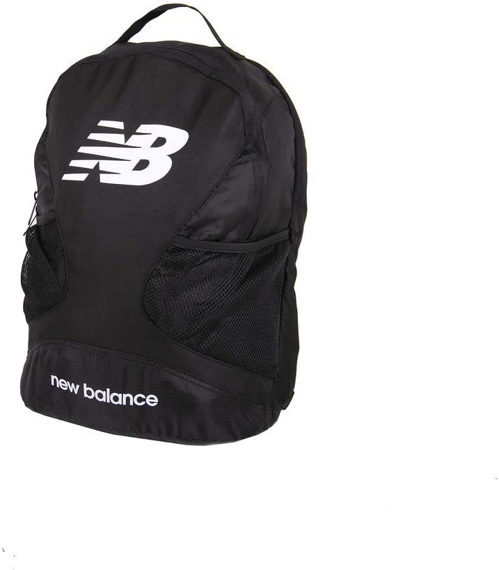 New Balance Players Backpack Dual Compartment Bag with Padded Laptop Sleeve, Black, One Size