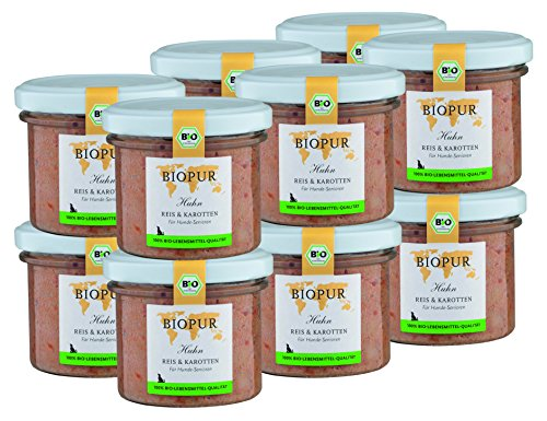 BIOPUR Bio Hundefutter Huhn, Reis & Karotten für Hunde-Senioren 12x100g