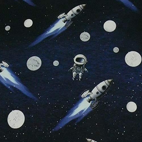 French Terry Stoff/Sommersweat Moonwalker, Astronauten, Raketen (50cm x 150cm)