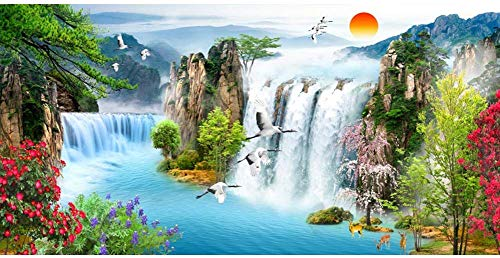 10x6.5ft Amazing Waterfall Polyester Photography Backdrop Autumn Forest Scenery Background Green Lake Yellow Leafs Natural Scenic Children Adults Portraits Wedding Photo Shooting Studio