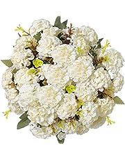 Konstgjorda blommor, konstgjorda blommor ojämnheter blommor dekoration konstgjord silke hortensior dekoration plast nejlikor blomarrangemang bröllop bukett (beige)