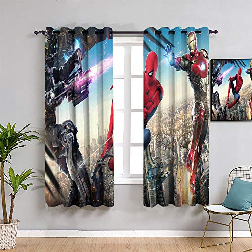 ZhiHdecor The Avengers curtainsSpider man movie art Room Darkening Wide Curtains,100'x84' Spider man Thermal Insulated Blackout Curtain,Blackout Thermal Insulated,Grommet Curtain Panel 1 Pair