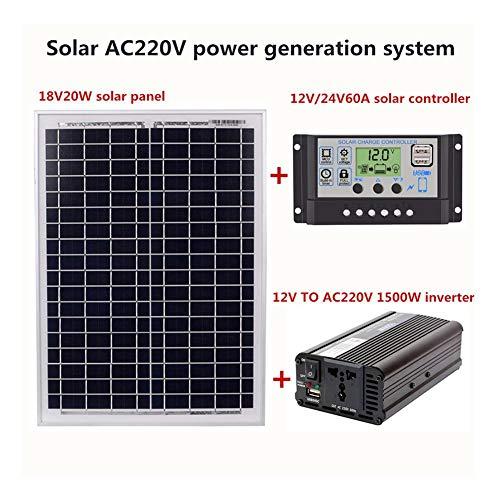 Corwar Kit de Panneaux solaires, AC 220 V, 1500 W, Module Solaire, contrôleur Solaire, onduleur, 12 V, 24 V, 10A / 40A / 60A, contrôleur Solaire, onduleur, contrôleur Solaire, onduleur