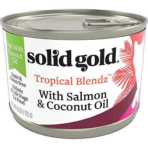 Solid Gold Tropical Blendz Pate with Coconut Oil - Grain-Free Wet Cat Food with Real Salmon, 6oz (16 Count)