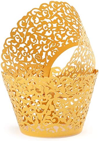 LotFancy 200pc Gold Lace Cupcake Wrappers for Wedding Laser Cut Cupcake Liners Filigree Vine product image
