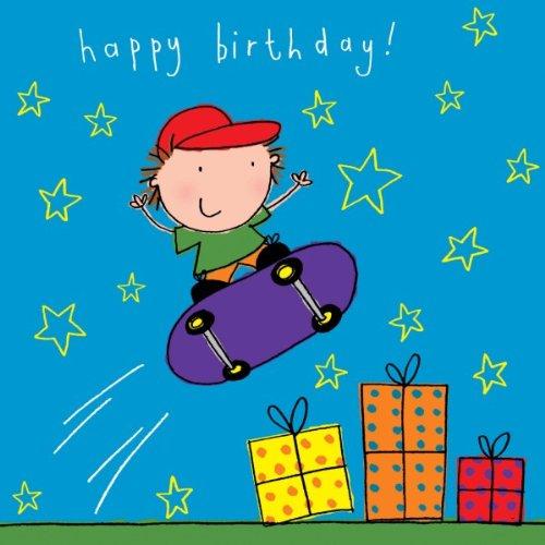 twizler Happy Birthday Karte für junge mit Skateboard, präsentiert und Swarovski Crystal Finish–Kinder Geburtstag–Jungen Geburtstag Karte